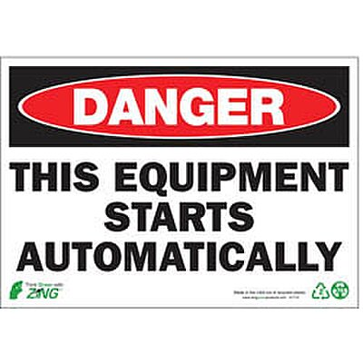Safety Sign, Equipment Starts