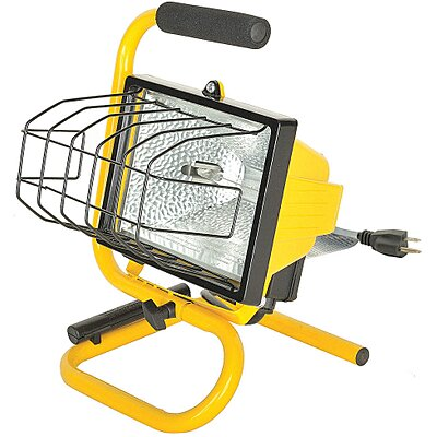 914623 8 500w Halogen Floor Stand Temporary Job Site Light Yellow Imperial Supplies