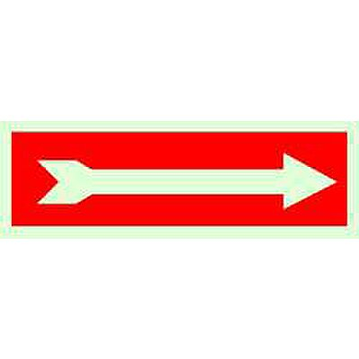 Safety Sign, Arrow, Wht/Red
