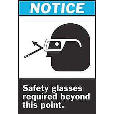 Safety Sign, Safety Glass Req